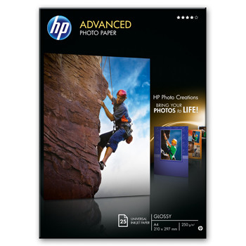 HP - A4 Advanced Glossy Foto papir 250 gram - 25 ark