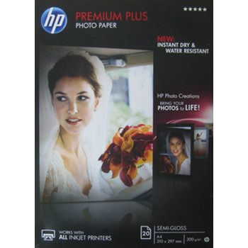 HP - A4 Premium Plus semi-gloss Foto papir 300 gram - 20 ark