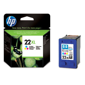 HP No22 XL color ink cartridge, blistered