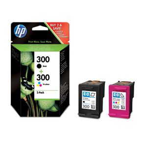 HP No300 black & color ink cartridge (sampack)