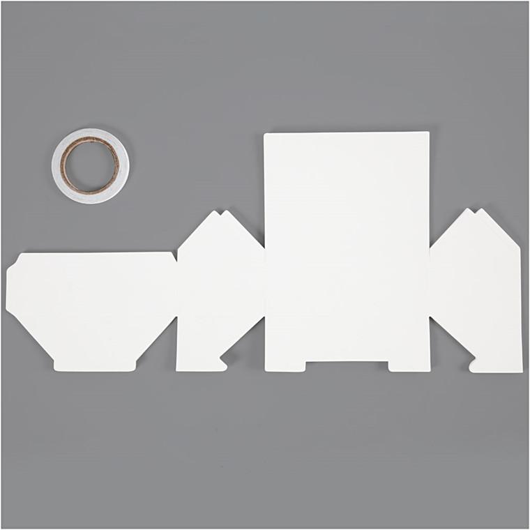Hus, Gård, str. 12x6,5x7,5 cm, 230 g, hvid, 8stk., 230 g