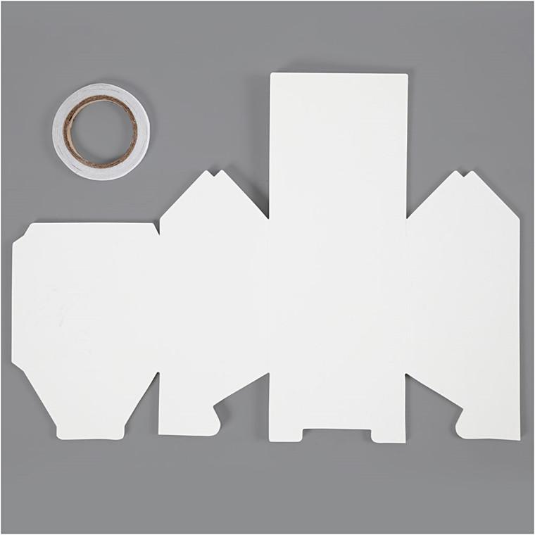 Hus, To-families-hus, str. 8x6,5x11,5 cm, 230 g, hvid, 8stk., 230 g