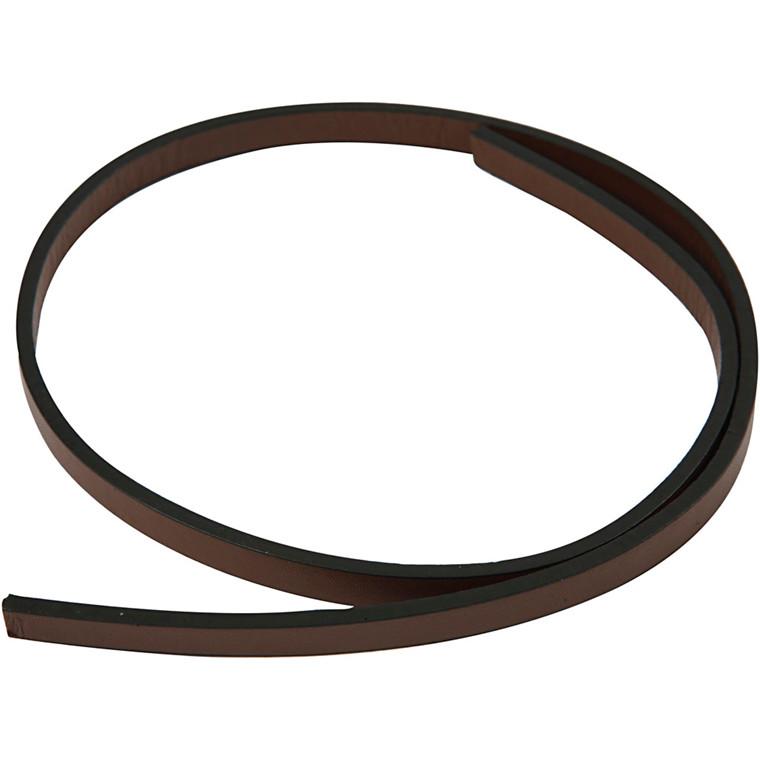 Imiteret læderbånd, B: 10 mm, tykkelse 3 mm, brun, 1m