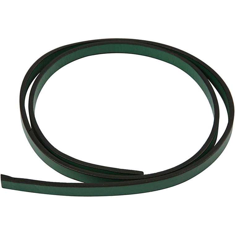 Imiteret læderbånd, B: 10 mm, tykkelse 3 mm, grøn, 1m