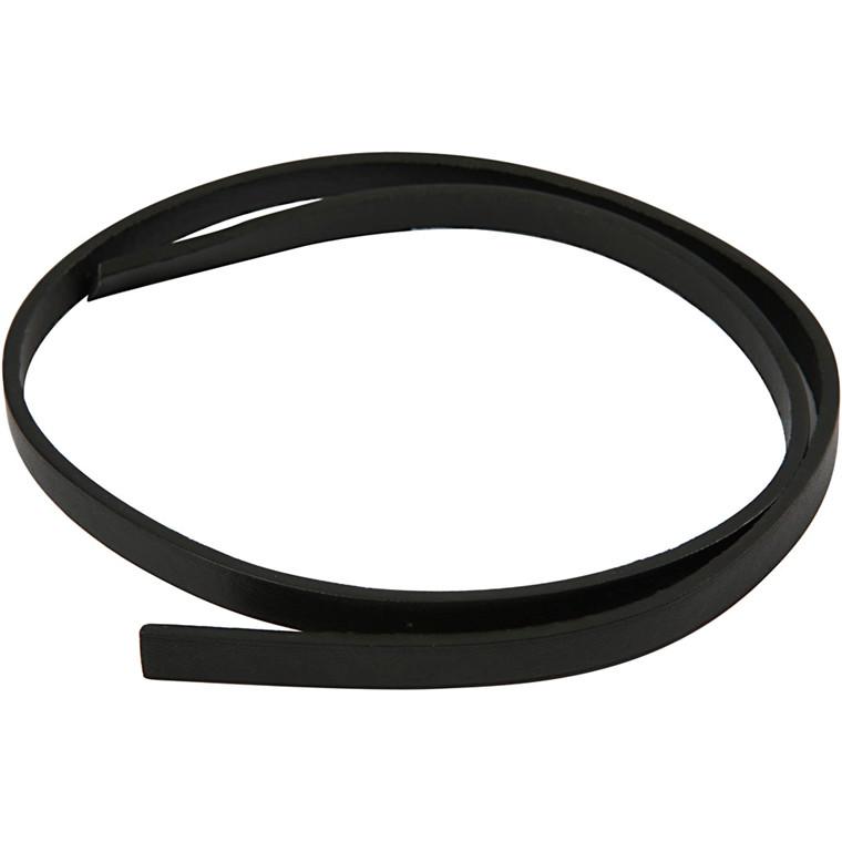 Imiteret læderbånd, B: 10 mm, tykkelse 3 mm, sort, 1m