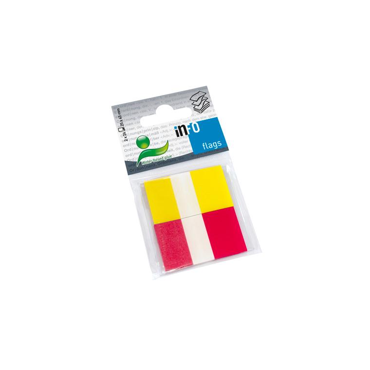 Indeksfaner - Info Flags 2 farver 25 x 43 mm - 2 x 26 stk