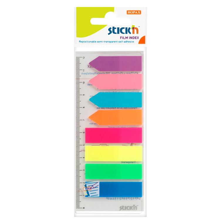 Indeksfaner Stick'N 8 ass. farver 4x50 pile + 4x50 faner 45x12mm