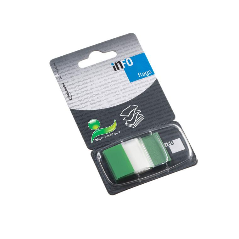 Indexfaner - Info grøn 25 x 43 mm med dispenser  - 50 stk