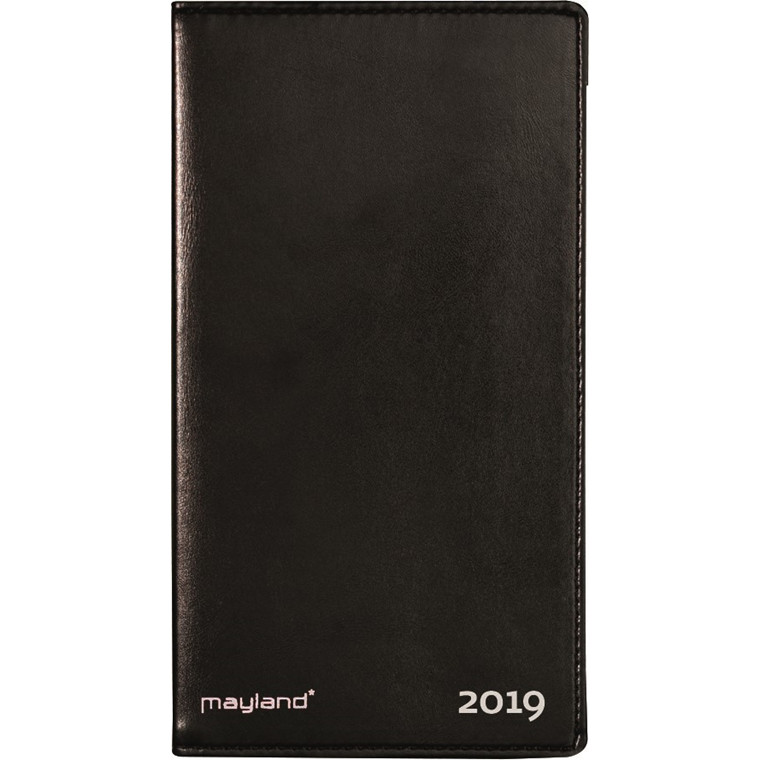 Index Planner Mayland 2019 måned med telefon register lakvinyl sort 9 x 17 cm - 19 0900 00