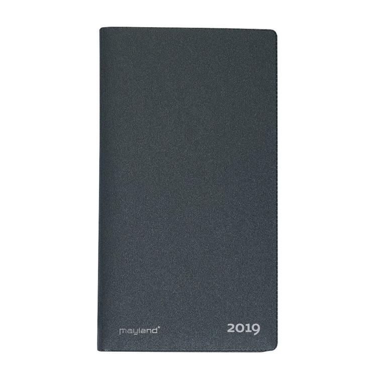 Index Planner måned Mayland 2019 med telefon register vinyl mørk grå 9 x 17 cm - 19 0900 50