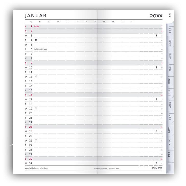 Indexplanner refill 2018 kalender 9 x 17 cm - Mayland 18 0952 00