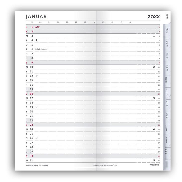 Indexplanner refill 2018 kalender + telefonregister - Mayland 18 0951 00