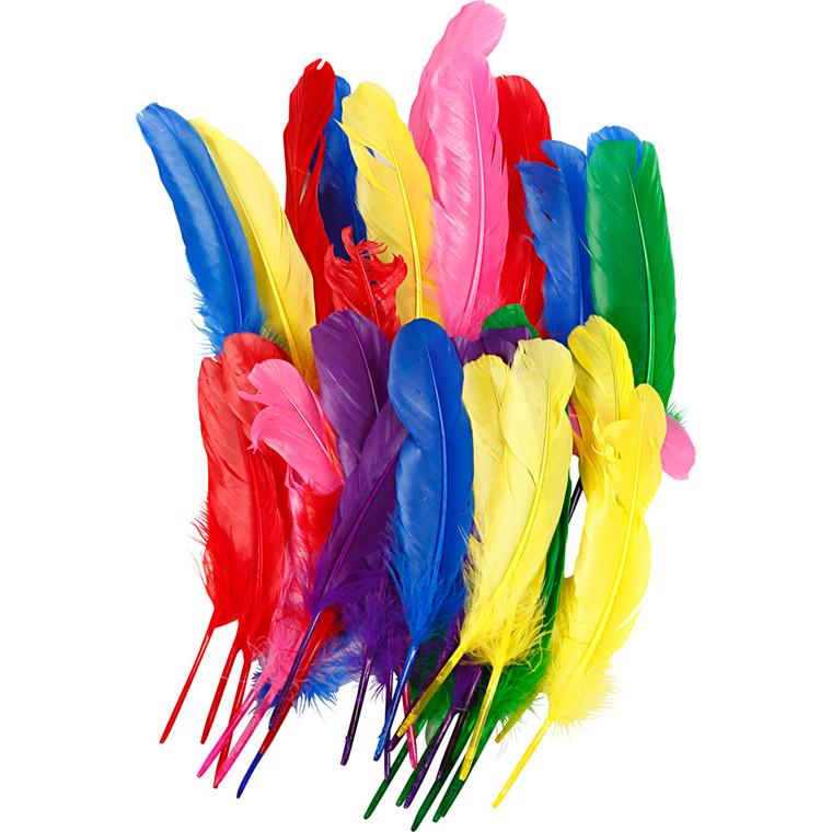 Indianerfjer - Assorteret farver - Længde 20 cm - 36 stk.
