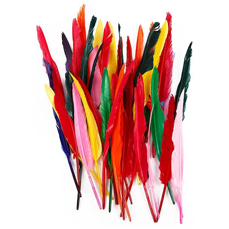 Indianerfjer længde 29-31 cm assorteret farver gås - 100 stk.