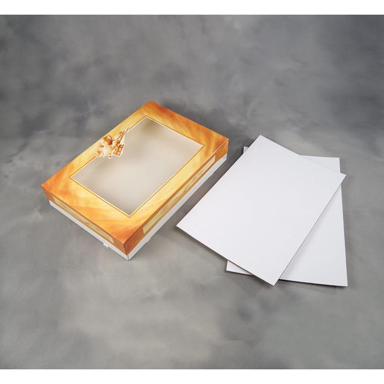 Indlægspap til kageæske 1281324 hvid/brun - 615 x 415 mm