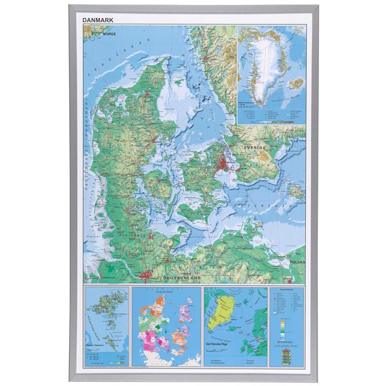 Danmarks kort i ramme - 60 x 90 cm