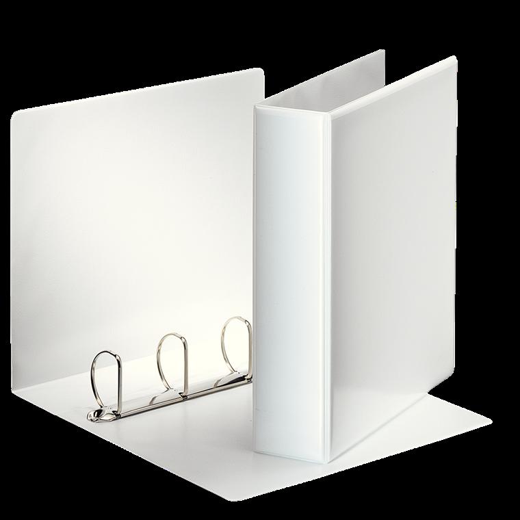 Indstiksmappe Esselte A4 hvid med 4 ringe og 77 mm ryg - 49705