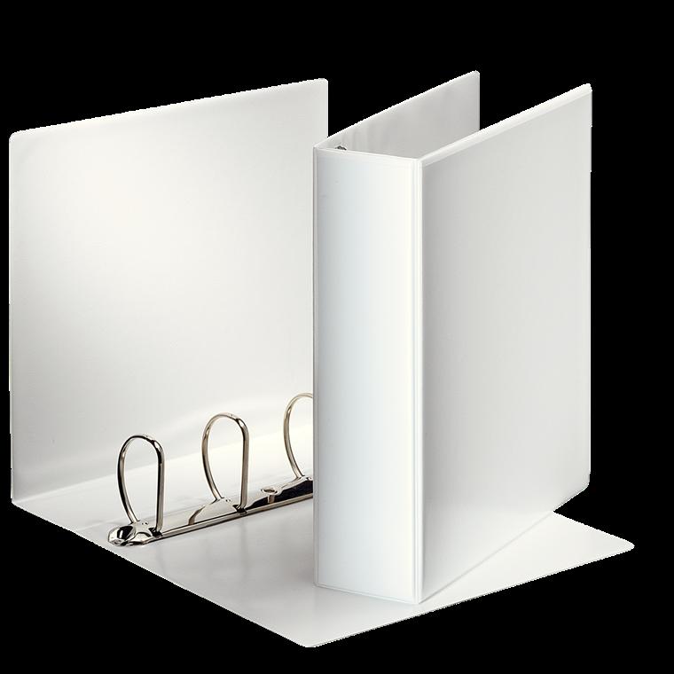 Indstiksmappe Esselte A4 hvid med 4 ringe og 86 mm ryg - 49706