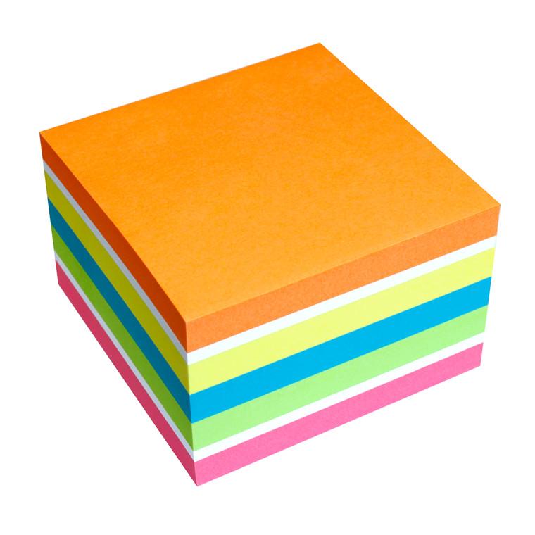 Info Kubusblok - Farvemix Sticky 75 x 75 mm - 450 ark