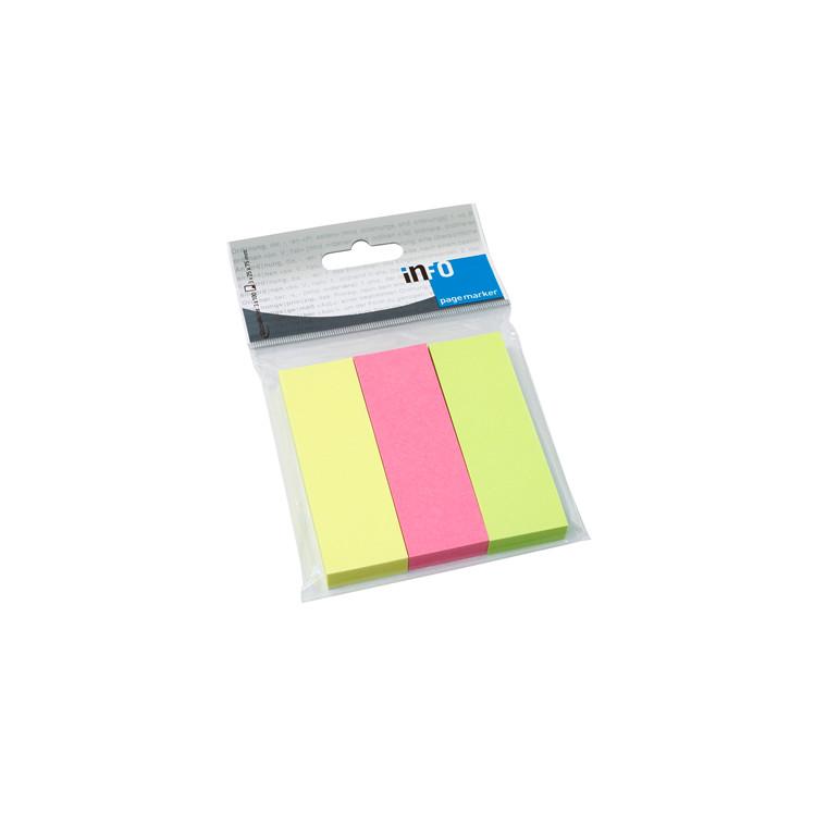 Info Pagemarker Indeksfaner - Brilliant farve mix 25 x 75 mm - 3 x 100 stk