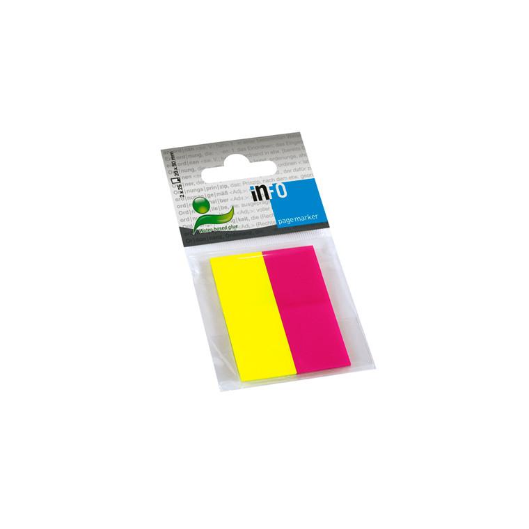 Info Pagemarker Indexfaner - i 2 farver 20 x 50 mm - 2 x 40 stk