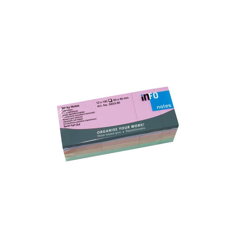 Info Sticky Notes - Harmony Line mix 50 x 40 mm 100 ark - 12 blokke