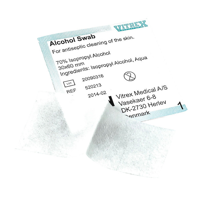 Desinfektionsserviet, 70% isopropylalkohol, 30x60 mm