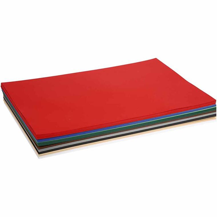 Julekarton A2 420 x 600 mm 180 gram assorteret farver | 20 ark