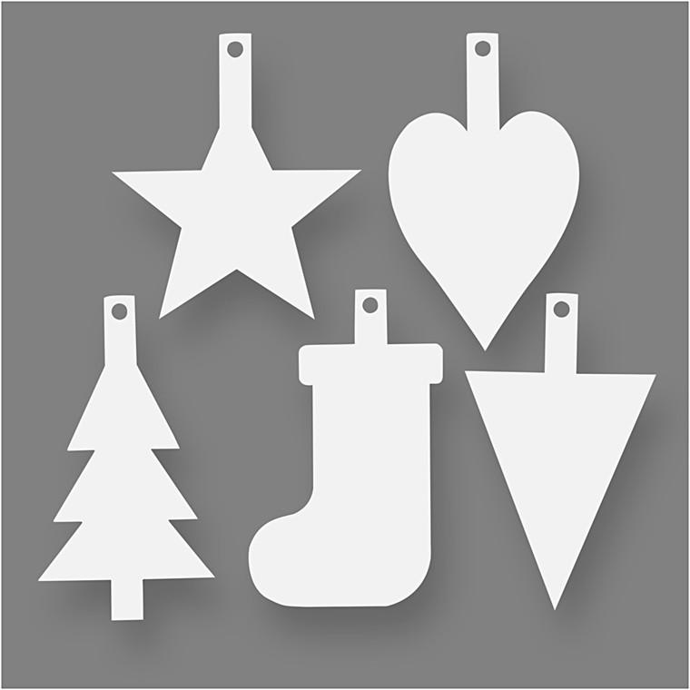 Juleophæng højde 23,5 - 26,5 cm bredde 15,5 - 20,5 cm hvid 400 gram - 15 stk.