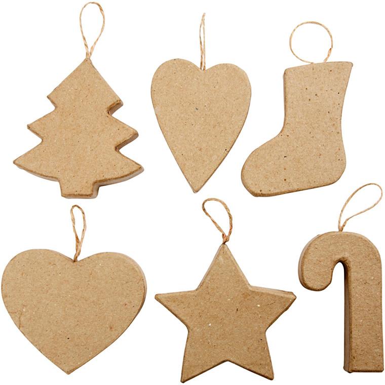 Juleophæng højde 7 + 8 cm juletræ smalt hjerte julesok bredt hjerte stjerne og julestok - 6 stk.