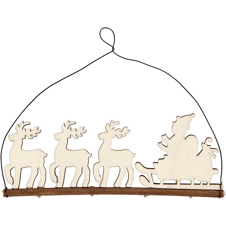 Juleophæng kane med rensdyr højde 8 cm bredde 22 cm krydsfiner | dybde 0,5 cm