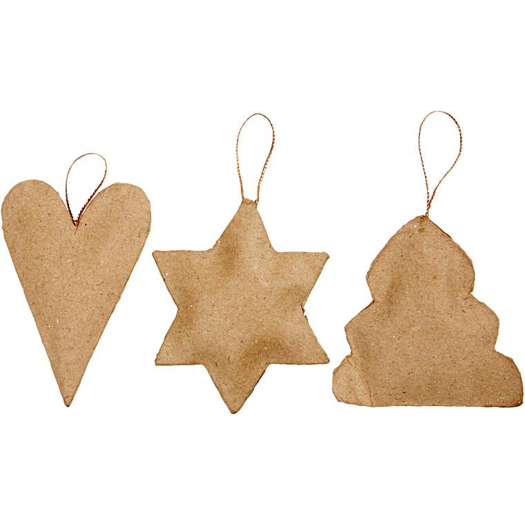 Juleophæng størrelse 8-9 cm hjerte stjerne og juletræ - 9 stk.