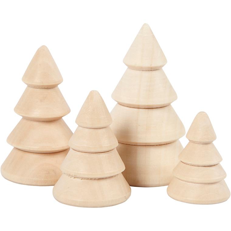 Juletræer højde 3,3 + 4,3 + 5,3 + 6,3 cm diameter 2,3 + 3 + 3,2 + 4 cm kejsertræ - 4 stk.