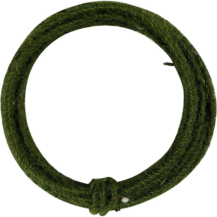 Jute wire, tykkelse 2-4 mm, grøn, 3m
