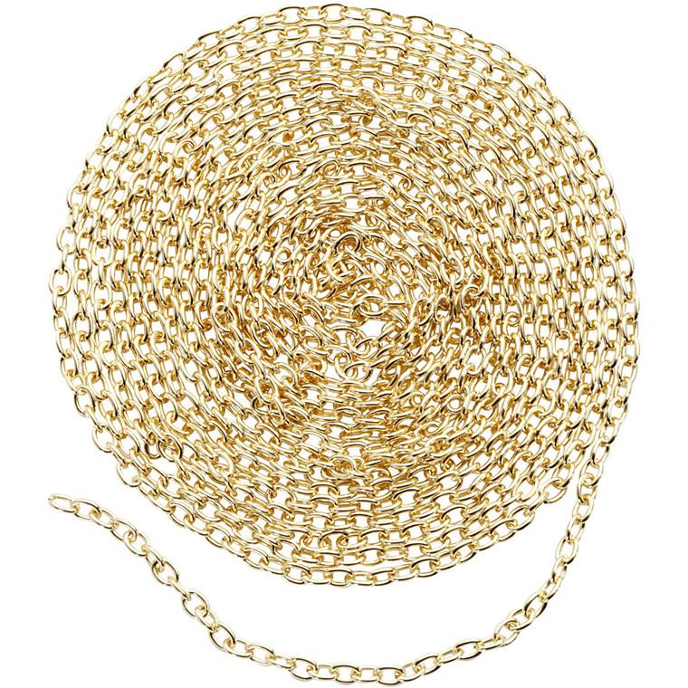 Kæde, B: 2 mm, forgyldt, 2m