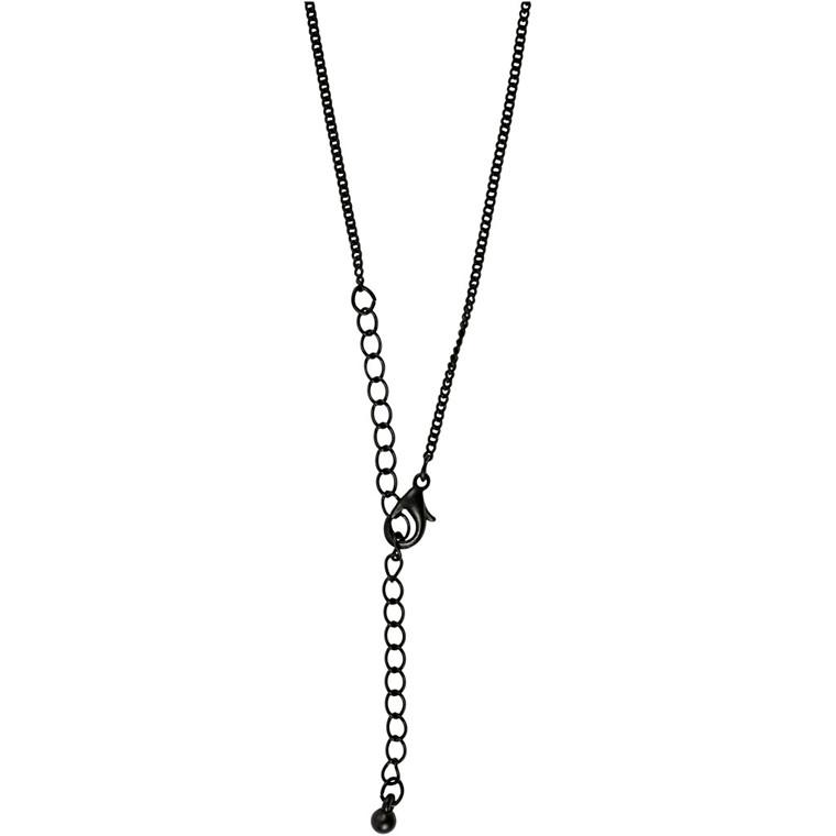 Kæde, L: 80 cm, dia. 1 mm, sort, 1stk.