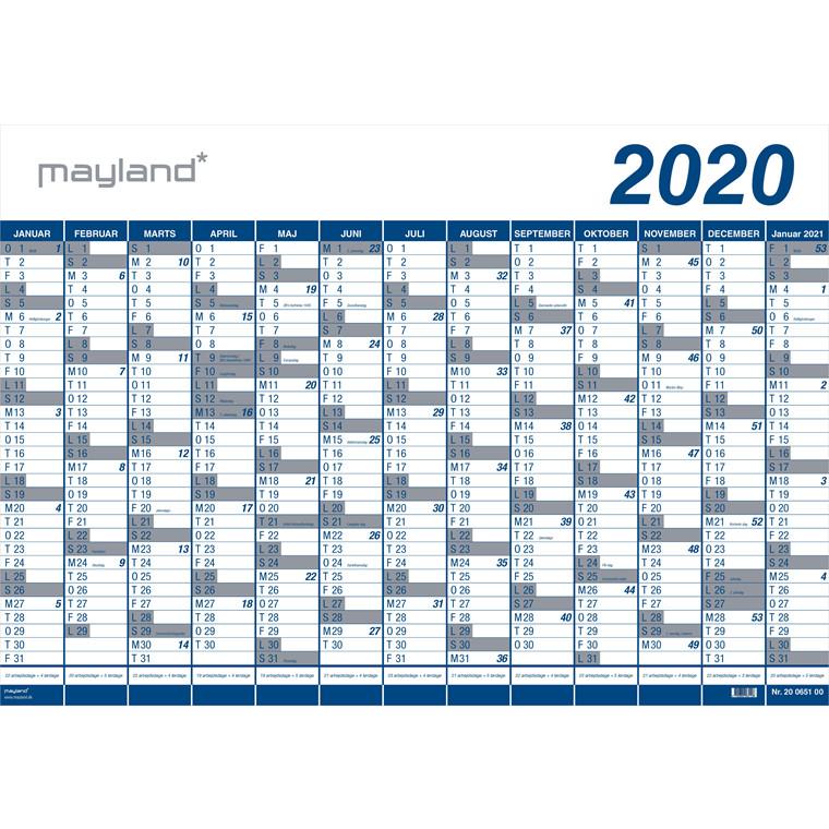 Mayland Kæmpekalender 2020 1 x 13 måneder PP rør 100 x 70 cm - 20 0650 00