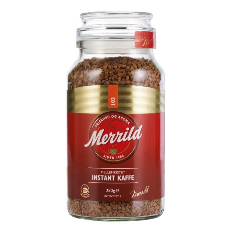 Kaffe Merrild instant i glas - 250 gram i et glas
