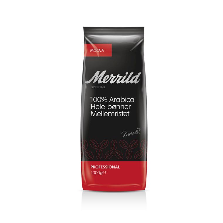 Kaffe Merrild Mocca hele bønner - 1 kg pr. pose
