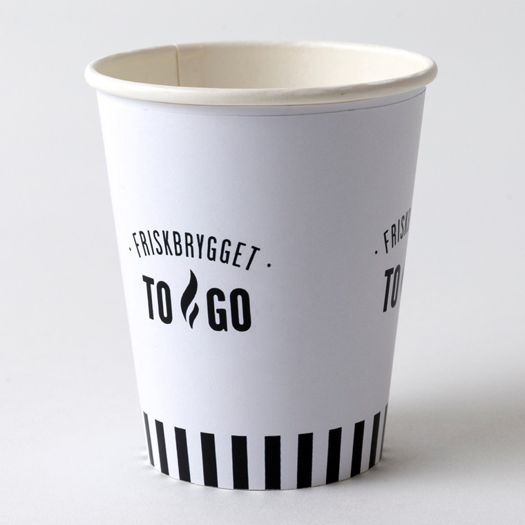 "Kaffebæger 8oz ""FriskBrygget"" Single Wall pap - 1000 stk"