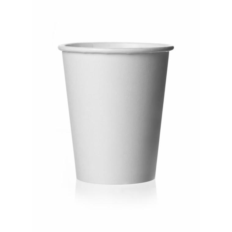 Kaffebæger bionedbrydelig 8 oz hvid - 1000 stk