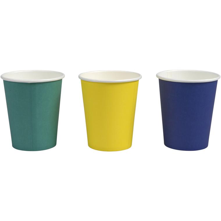 Kaffebæger, Gastro-Line, rød, turkis, gul, blå, 1 sidet PE coated, pap med PE-belægning, 8 oz