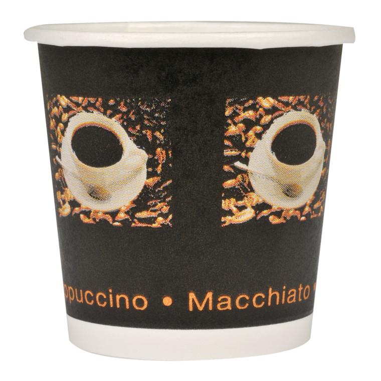 Kaffebæger, Gastro-Line, sort, single wall, pap med PE-belægning, 10 cl, 4oz,
