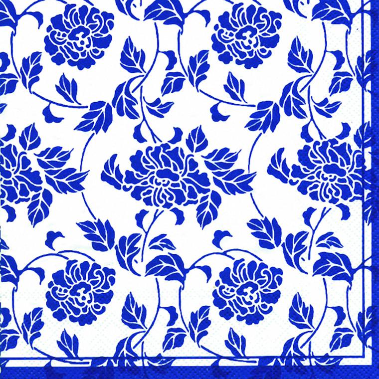 Kaffeserviet, Bloom, 3-lags, 1/4 fold, design, blå og hvid, 100% nyfiber, 25cm x 25cm