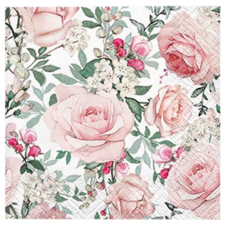 Kaffeserviet , Gorgeous Roses, 3-lags, 1/4 fold, 25x25cm, flerfarvet, papir