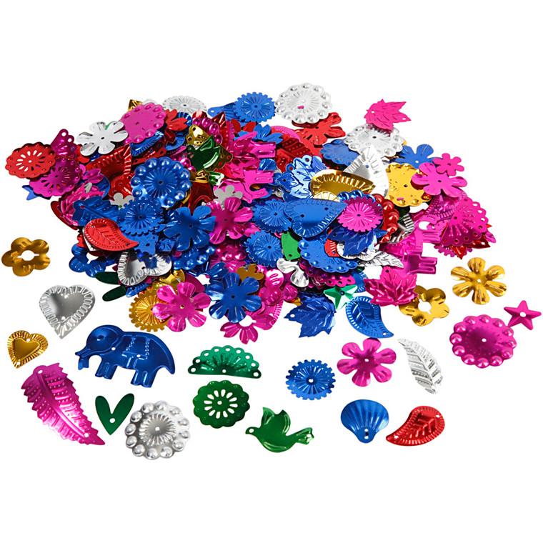 Karnevalsmix - Stærke farver - Størrelser 15 til 45 mm - 30 g