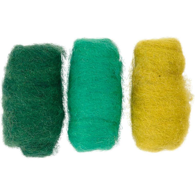Kartet uld, grøn/turkis harmoni, 3x10g