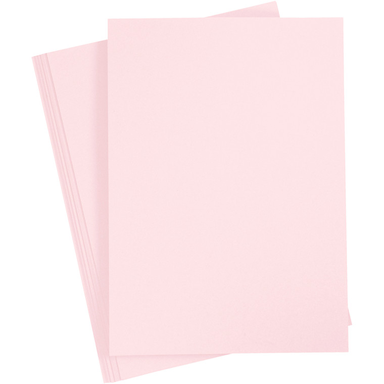 Karton, A4 210x297 mm, 210 g, lys rosa, 10ark