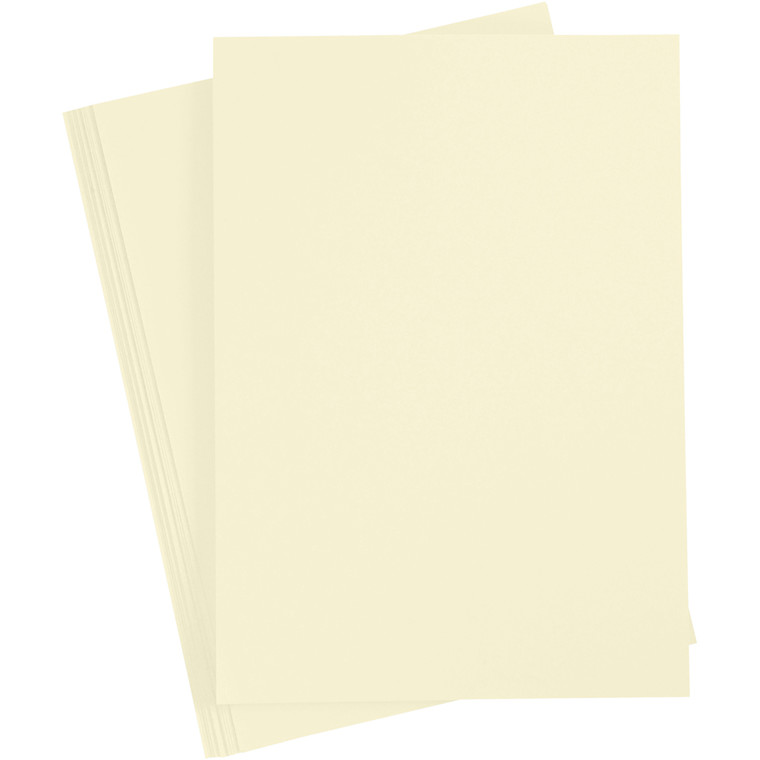 Karton, A4 210x297 mm, 210 g, pastel gul, 10ark