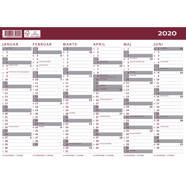 Kartonkalender 19/20 halvårs A4 30x21cm 20 8590 00